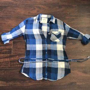 Hollister Blue Plaited Shirt. Size XS